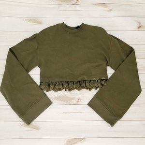 Fenty Puma Olive Branch Cropped Sweatshirt